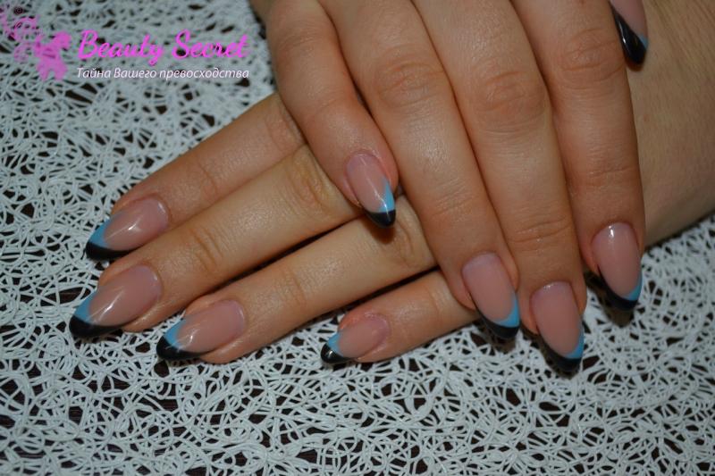 Beautysecret - Галерея: Наращивание ногтей. Декоративный френч с росписью.